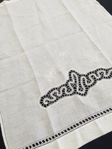 Vintage White on White Ajour Openwork White Embroidered Batiste Linen and Battenburg Lace Guest Towel