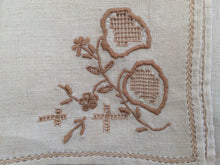 Load image into Gallery viewer, Set of 3 Vintage Embroidered Ajour (Openwork) Linen Napkins Ivory and Taupe/Antique Gold Colour