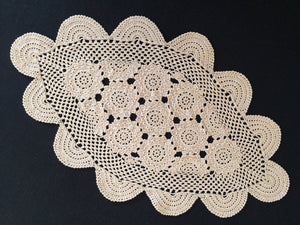 Vintage Oval Ecru (Natural Cotton Colour) Crochet Lace Doily