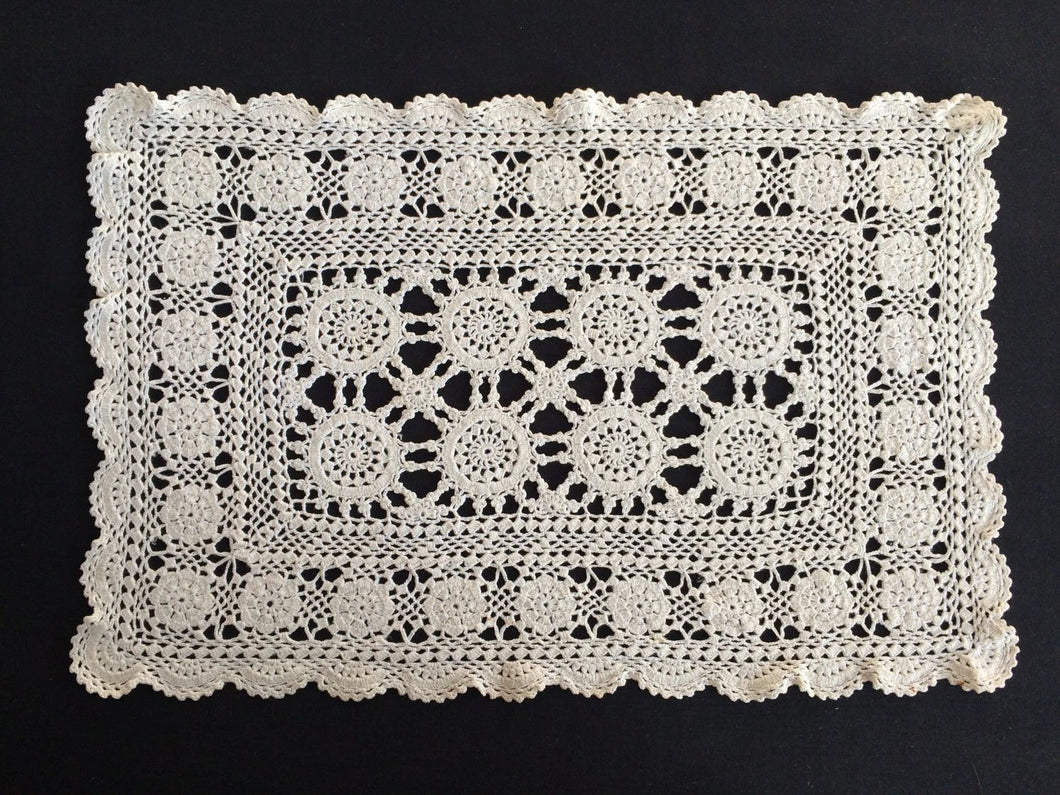 Vintage Crocheted Off White Doily/Placemat or Tray Cloth