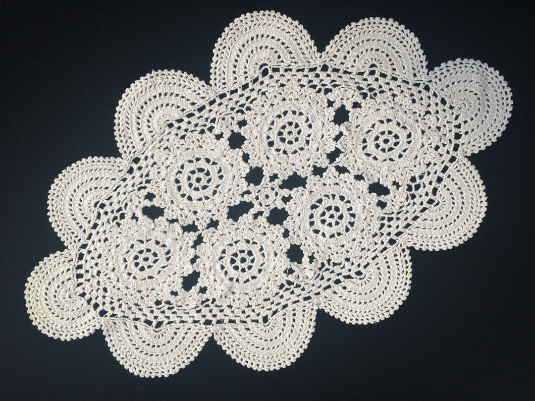 Vintage Antique Linen White Colour Oval Crocheted Cotton Lace Doily