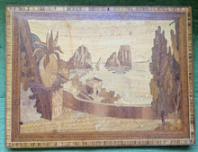 Load image into Gallery viewer, Wooden Intarsia Vintage Wall Décor. Mediterranean Landscape Wooden Inlay Plaque Intarsia