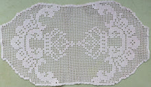 Load image into Gallery viewer, Pale Pink Vintage Filet Crochet Lace Oblong Doily, Placemat or Table Runner/Table Topper