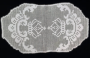 Pale Pink Vintage Filet Crochet Lace Oblong Doily, Placemat or Table Runner/Table Topper