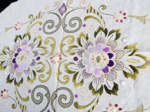 Large Eastern European Vintage Silk Embroidered with Unfinished Edge - Raw Linen and Silk Doily