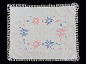 Vintage White Linen Cross Stitch Embroidered European 1930s Vintage Embroidered Linen Doily with Lace Edging