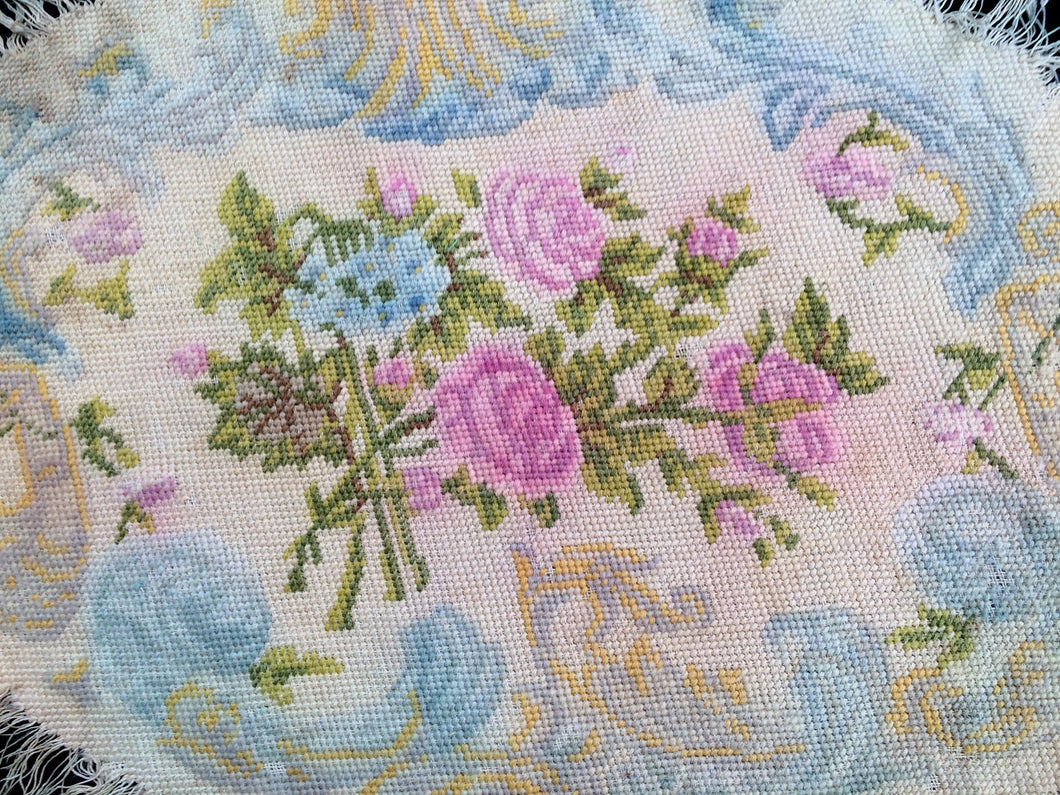 Antique Tapestry. 1800s Roses Design Antique European Tapestry. Oval Vintage Needlepoint Table Runner. Gobelin Table Runner