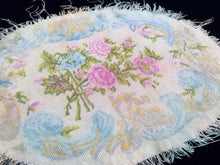 Load image into Gallery viewer, Antique Tapestry. 1800s Roses Design Antique European Tapestry. Oval Vintage Needlepoint Table Runner. Gobelin Table Runner
