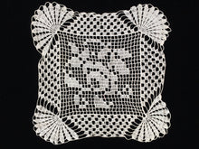 Load image into Gallery viewer, European Vintage Off White Filet Crochet Lace Doily with Rose