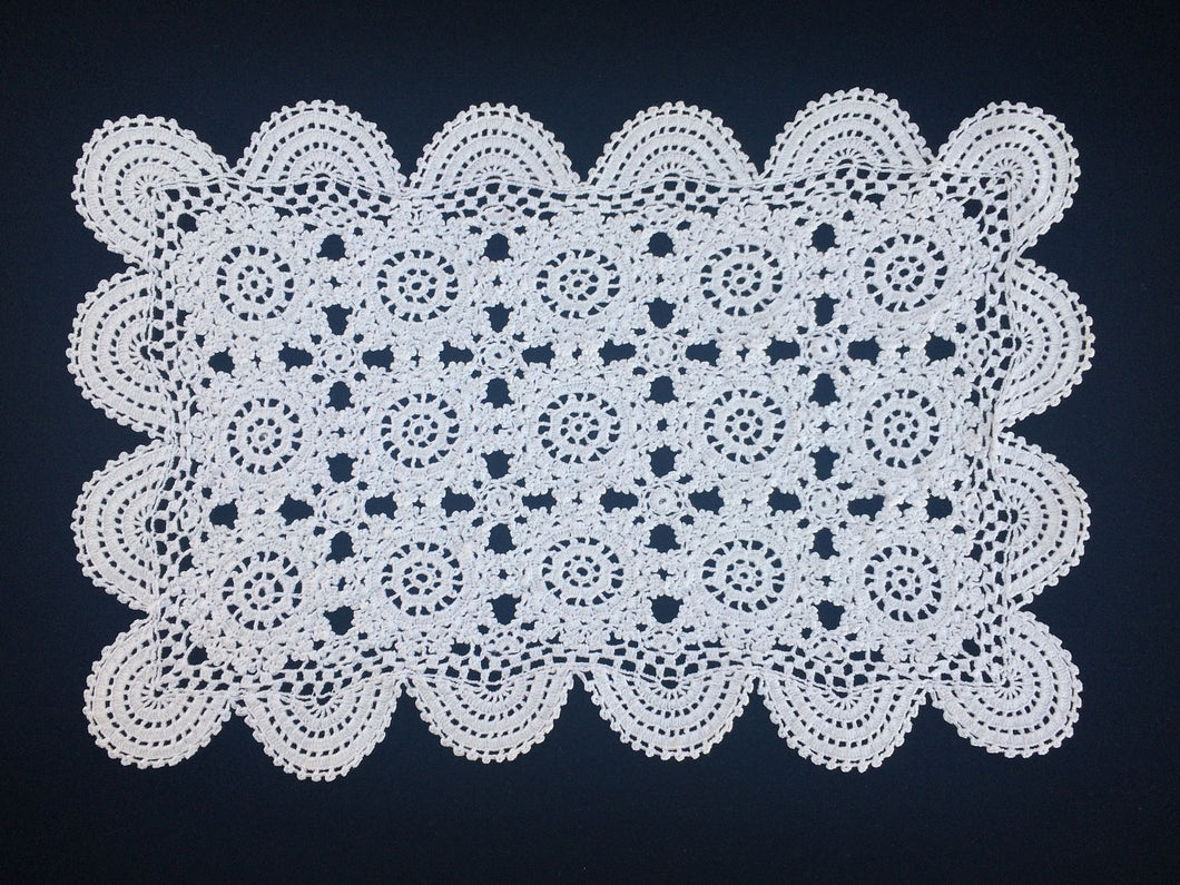 Large Vintage Crocheted White Cotton Lace Doily or Placemat