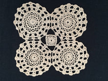 Load image into Gallery viewer, Vintage Square Crocheted Ecru (Natural Cotton) Colour Cotton Lace Doily