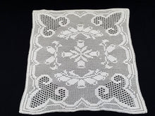 Load image into Gallery viewer, Small Art Deco Vintage Filet Crochet Tablecloth in White Cotton Lace