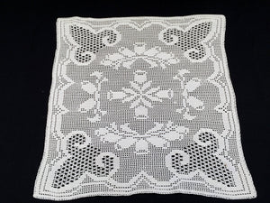 Small Art Deco Vintage Filet Crochet Tablecloth in White Cotton Lace