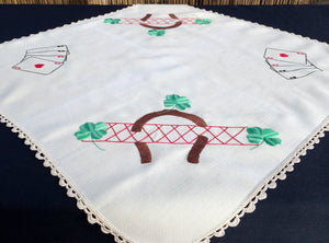 Embroidered Vintage Square Card Tablecloth with Crochet Lace Border