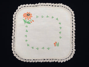 Vintage 1940s Embroidered Ivory Linen Doily with Orange Daisy Design Doily and Ivory Crochet Lace Edging
