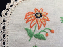 Load image into Gallery viewer, Vintage 1940s Embroidered Ivory Linen Doily with Orange Daisy Design Doily and Ivory Crochet Lace Edging