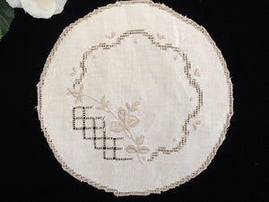 Vintage Embroidered Ajour (Openwork) Ivory and Ecru Hand Embroidered Linen Doily