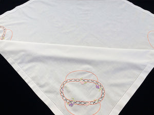 Embroidered Vintage Art Deco Floral Design White Linen Tablecloth with Ajour Openwork Embroidery Border