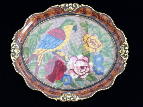 Antique Parrot and Roses Gobelin Needlepoint Picture in Ornate Oval Gilded Walnut Stain Frame