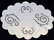 Load image into Gallery viewer, Vintage 1950s Madeira Hand Embroidered Oval White on White Cutwork Linen Doily or Placemat with Scalloped Edge