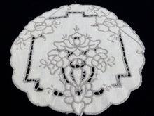 Load image into Gallery viewer, Vintage Ivory and Ecru/Beige Madeira Cutwork Cotton Linen Doily with Scalloped Edge