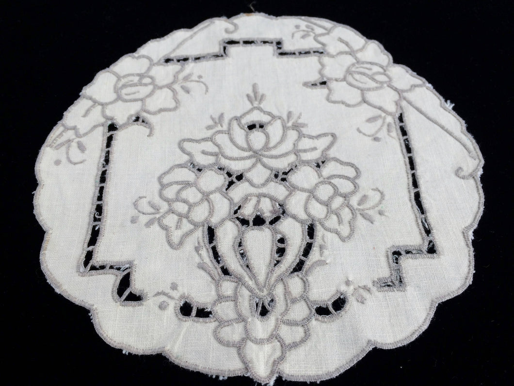Vintage Ivory and Ecru/Beige Madeira Cutwork Cotton Linen Doily with Scalloped Edge