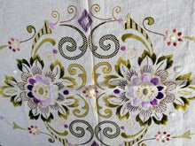 Load image into Gallery viewer, Large Eastern European Vintage Silk Embroidered with Unfinished Edge - Raw Linen and Silk Doily