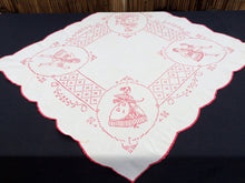 Load image into Gallery viewer, Antique European Crinoline Lady Cross and Stem Stitch Embroidered Red and White Square Tablecloth