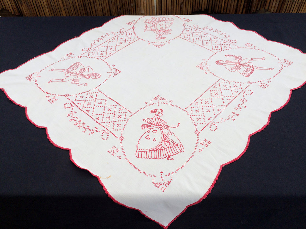 Antique European Crinoline Lady Cross and Stem Stitch Embroidered Red and White Square Tablecloth