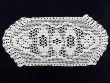 Load image into Gallery viewer, Vintage Off White Oval Filet Crochet Doily or Tray Cloth. Crocheted Oval Cotton Lace Sandwich Doily