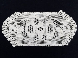 Vintage Off White Oval Filet Crochet Doily or Tray Cloth. Crocheted Oval Cotton Lace Sandwich Doily