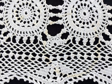Load image into Gallery viewer, Small Vintage White Crochet Lace Rectangular Tablecloth or Table Runner