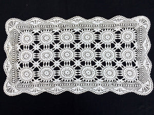 Small Vintage White Crochet Lace Rectangular Tablecloth or Table Runner