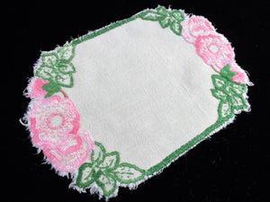 Vintage Hand Embroidered Oblong Linen Doily with Pink Flowers on Off-white Linen