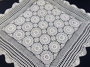 Vintage Square Crocheted Ivory/Cream Cotton Lace Tablecloth
