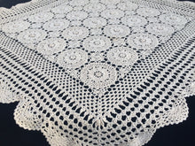 Load image into Gallery viewer, Vintage Square Crocheted Ivory/Cream Cotton Lace Tablecloth