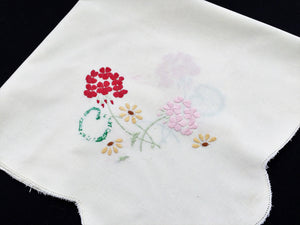 Vintage Square Floral Embroidered White Linen Tablecloth with Openwork Border