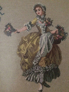 "Gobelin Needlepoint Framed Vintage Tapestry Gobelin Portrait of a Flower Girl ""Rosalinda"" in Ornate Gilded Picture Frame"