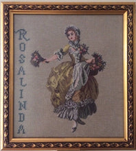 "Load image into Gallery viewer, Gobelin Needlepoint Framed Vintage Tapestry Gobelin Portrait of a Flower Girl ""Rosalinda"" in Ornate Gilded Picture Frame"
