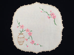 Vintage Embroidered Ivory Linen Doily. Peach Blossom in Vase Design with Ivory Crochet Edging