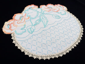 Large Flower Basket Shaped Vintage Embroidered Linen Doily. Poppies and Ivory Crochet Lace Edging