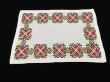 Load image into Gallery viewer, Retro 1970s Vintage Embroidered Oblong Linen Placemat. Large White Aida Cloth Cross Stitch Doily