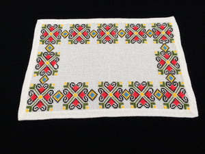 Retro 1970s Vintage Embroidered Oblong Linen Placemat. Large White Aida Cloth Cross Stitch Doily