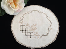 Load image into Gallery viewer, Vintage Embroidered Ajour (Openwork) Ivory and Ecru Hand Embroidered Linen Doily