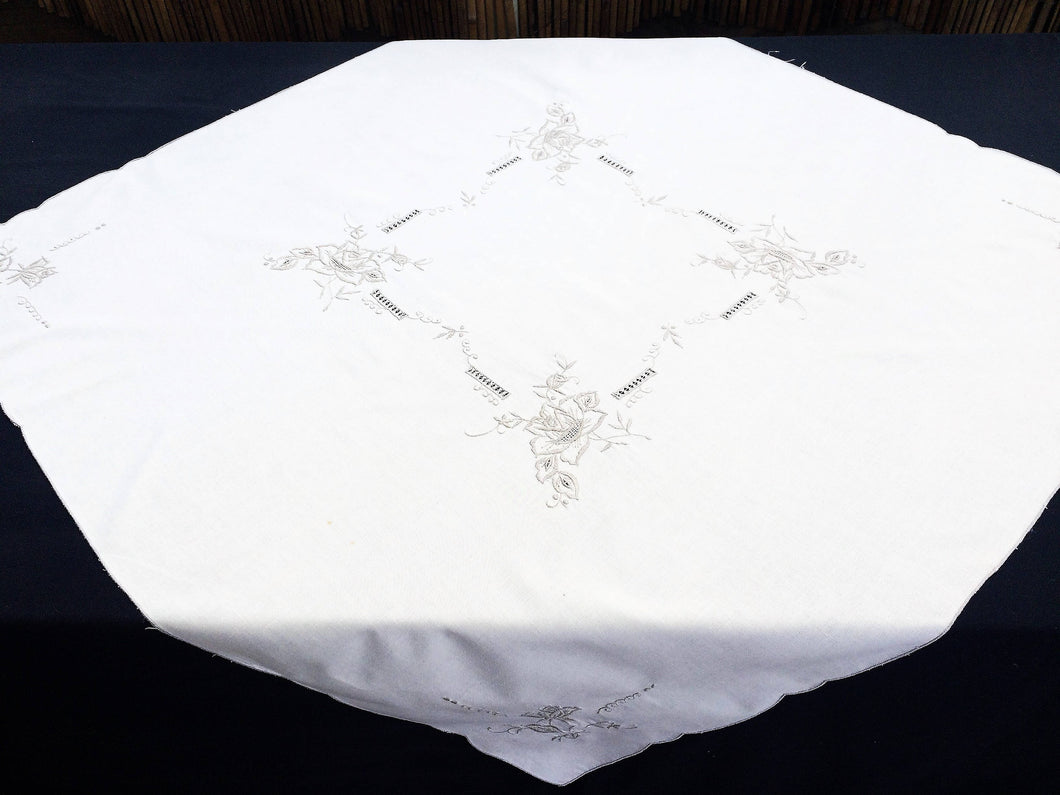 Vintage Machine Embroidered Cotton Tablecloth with Cutwork in Ivory/Ecru Colours