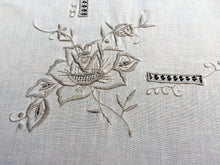 Load image into Gallery viewer, Vintage Machine Embroidered Cotton Tablecloth with Cutwork in Ivory/Ecru Colours
