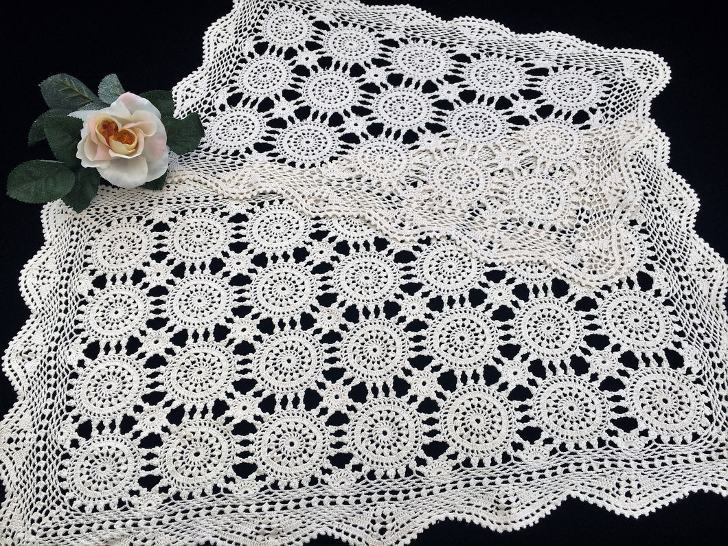 A Pair of Small Vintage Ivory Vintage Crochet Lace Table Runners in Ivory Cotton