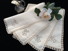 Load image into Gallery viewer, Set of 4 Vintage Ivory and Ecru Embroidered Cotton Linen Napkins with Ecru (Beige) Coloured Crochet Lace Border (Edging)