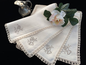 Set of 4 Vintage Ivory and Ecru Embroidered Cotton Linen Napkins with Ecru (Beige) Coloured Crochet Lace Border (Edging)