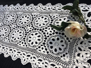 Vintage Crochet and Tape Lace Vintage Crocheted Table Runner